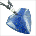 Lapis Lazuli Shield Shaped Good Luck Powers Gemstone Magic Amulet Pendant on Adjustable Necklace