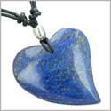 Lapis Lazuli Heart Shaped Good Luck Powers Gemstone Magic Amulet Pendant on Adjustable Necklace