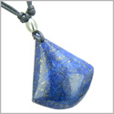 Lapis Lazuli Triangle Pendulum Shaped Good Luck Powers Gemstone Magic Amulet Pendant on Adjustable Necklace