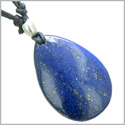 Lapis Lazuli Tear Drop Shaped Good Luck Powers Gemstone Magic Amulet Pendant on Adjustable Necklace