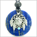 Amulet Howling Wolf Dream Catcher Medallion Magic Circle Lapis Lazuli Magic and Protection Powers Pendant Adjustable Necklace
