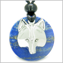 Amulet Courage Wolf Mask Medallion Magic Circle Lapis Lazuli Magic and Protection Powers Pendant Adjustable Cord Necklace