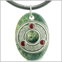 Amulet Celtic Triquetra Protection Knot Green Moss Agate Lucky Charm Good Luck Powers Pendant on Leather Cord Necklace