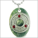 "Amulet Celtic Triquetra Protection Knot Green Moss Agate Lucky Charm Good Luck Powers Pendant on 18"" Steel Necklace"
