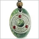 Amulet Celtic Triquetra Protection Knot Green Moss Agate Lucky Charm Good Luck Powers Pendant on Adjustable Cord Necklace