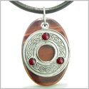 Amulet Celtic Triquetra Protection Knot Red Tiger Eye Lucky Charm Evil Eye Protection Powers Pendant on Leather Cord Necklace