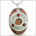 "Amulet Celtic Triquetra Protection Knot Red Tiger Eye Lucky Charm Evil Eye Protection Powers Pendant on 18"" Steel Necklace"