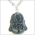 "Amulet Happy Laughing Buddha Lucky Charm Black Onyx Gemstone Spiritual Powers Pendant on 18"" Stainless Steel Necklace"