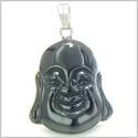Amulet Happy Laughing Buddha Lucky Charm Black Onyx Gemstone Spiritual Protection Powers Pendant