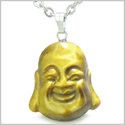 "Amulet Happy Laughing Buddha Lucky Charm Tiger Eye Gemstone Evil Eye Protection Powers Pendant on 18"" Stainless Steel Necklace"