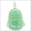 Amulet Happy Laughing Buddha Lucky Charm Green Aventurine Gemstone Good Luck Magic Powers Pendant