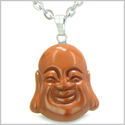 "Amulet Happy Laughing Buddha Lucky Charm Red Jasper Gemstone Believe Powers Pendant on 18"" Stainless Steel Necklace"