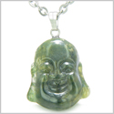 Amulet Happy Laughing Buddha Lucky Charm Green Moss Agate Gemstone Good Luck Magic Powers Pendant 18� Stainless Steel Necklace