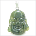 Amulet Happy Laughing Buddha Lucky Charm Green Moss Agate Gemstone Good Luck Magic Powers Pendant