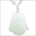 "Amulet Happy Laughing Buddha Lucky Charm White Jade Gemstone Evil Eye Protection Powers Pendant on 18"" Stainless Steel Necklace"