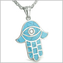 Amulet Hamsa Hand Evil Eye Reflection Powers Turquoise Gemstone Magic and Protection Energy Lucky Charm Pendant on 18� Necklace