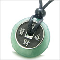 Amulet Lucky Coin Charm Donut in Green Aventurine Good Luck Powers Antiqued Stainless Steel Pendant on Adjustable Cord Necklace