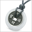 Amulet Lucky Coin Charm Donut in White Jade Protection Powers Antiqued Stainless Steel Pendant on Adjustable Cord Necklace