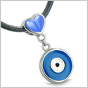 Amulet Evil Eye Reversible Double Lucky Hearts Charm Yin Yang Powers Royal Blue and Candy Pink Cats Eye Pendant Leather Necklace