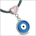 Amulet Evil Eye Reversible Double Lucky Hearts Charm Yin Yang Powers Candy Pink and Royal Blue Cats Eye Pendant Leather Necklace