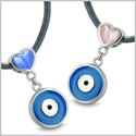 Amulets Evil Eye Charms Reversible Double Lucky Love Couple or Best Friends Set Royal Blue Pink Cat's Eye Pendants Necklaces