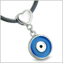 Amulet Evil Eye Reversible Double Lucky Hearts Charm Yin Yang Powers White Cat's Eye Black Onyx Pendant on Leather Cord Necklace