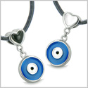 Amulets Evil Eye Charms Reversible Double Lucky Love Couple or Best Friends Set Black Onyx White Cat's Eye Pendants Necklaces