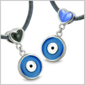 Amulets Evil Eye Protection Charms Reversible Double Lucky Hearts Love Couple or Best Friends Set Gemstones Pendants Necklaces
