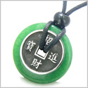 Amulet Lucky Coin Charm Donut in Green Jade Protection Powers Antiqued Stainless Steel Pendant on Adjustable Cord Necklace