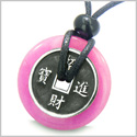 Amulet Lucky Coin Charm Donut in Hot Pink Jade Protection Powers Antiqued Stainless Steel Pendant on Adjustable Cord Necklace