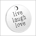 20 Pieces Live Laugh Love Inspirational Medallion Charm Findings for Jewelry Pendant Necklace Making 20mm