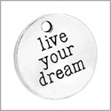 20 Pieces Live Your Dream Inspirational Medallions Lucky Charm Findings for Jewelry Pendant Necklace 20mm