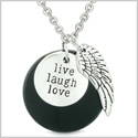 Guardian Angel Wing Live Laugh Love Inspirational Medallion Magic Amulet Black Agate 22 Inch Necklace