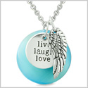 Guardian Angel Wing Live Laugh Love Inspiration Magic Amulet Sky Blue Simulated Cats Eye 22 Inch Necklace
