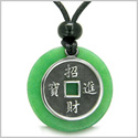 Amulet Lucky Coin Charm Medallion in Green Jade Protection Powers Antiqued Stainless Steel Pendant on Adjustable Cord Necklace
