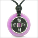 Amulet Lucky Coin Charm Medallion in Purple Jade Protection Powers Antiqued Stainless Steel Pendant on Adjustable Cord Necklace