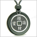 Amulet Lucky Coin Charm Medallion in Black Onyx Protection Powers Antiqued Stainless Steel Pendant on Adjustable Cord Necklace