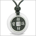 Amulet Lucky Coin Charm Medallion in White Jade Protection Powers Antiqued Stainless Steel Pendant on Adjustable Cord Necklace