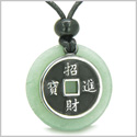 Amulet Lucky Coin Charm Medallion Green Aventurine Protection Power Antiqued Stainless Steel Pendant on Adjustable Cord Necklace