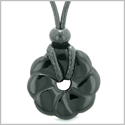 Magical Lotus Flower Lucky 30mm Donut Celtic Style Amulet Black Agate Spiritual Protection Necklace