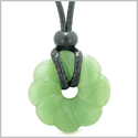 Magical Lotus Flower Lucky 30mm Donut Celtic Style Amulet Green Quartz Spiritual Protection Necklace