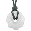 Magical Lotus Flower Lucky 30mm Donut Celtic Style Amulet Snowflake Quartz Spiritual Protection Necklace
