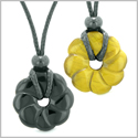 Magic Lotus Flower Lucky 30mm Donut Amulets Black Agate Tiger Eye Love Couples Best Friends Necklaces
