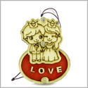 Cute Prince and Princess Love Couple Lucky Charm Protection Power Wooden Car Charm or Home Decor Blessing