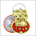 Cute Prince and Princess Love Couples Lucky Charm Protection Powers Wooden Keychain Key Ring Blessing