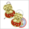 Cute Prince Princess Protection Powers Love Couples or Best Friends Wooden Keychain Car Charm Blessings