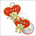 Cute Heart Magic Protection Energy Love Couples or Best Friends Set Wooden Keychain Car Charm Blessings