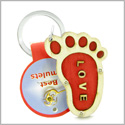 Cute Bare Foot Love Energy Lucky Charm Magic and Protection Powers Wooden Keychain Key Ring Blessing