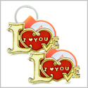 Cute I Love You Magic Heart Lucky Charm Love Couples or Best Friends Set Wooden Keychain Amulet Blessings