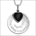 "Love is Composed of a Single Soul Inspirational Pendant Simulated Onyx Heart Charm Amulet 22"" Necklace"